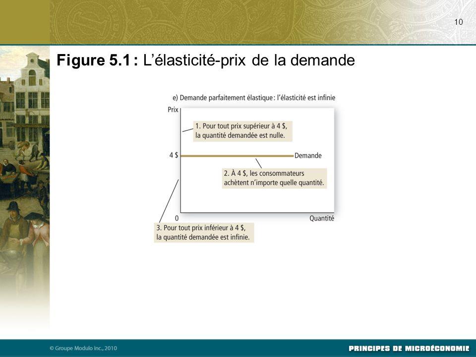 Figure 5.1 : L'élasticité-prix de la demande