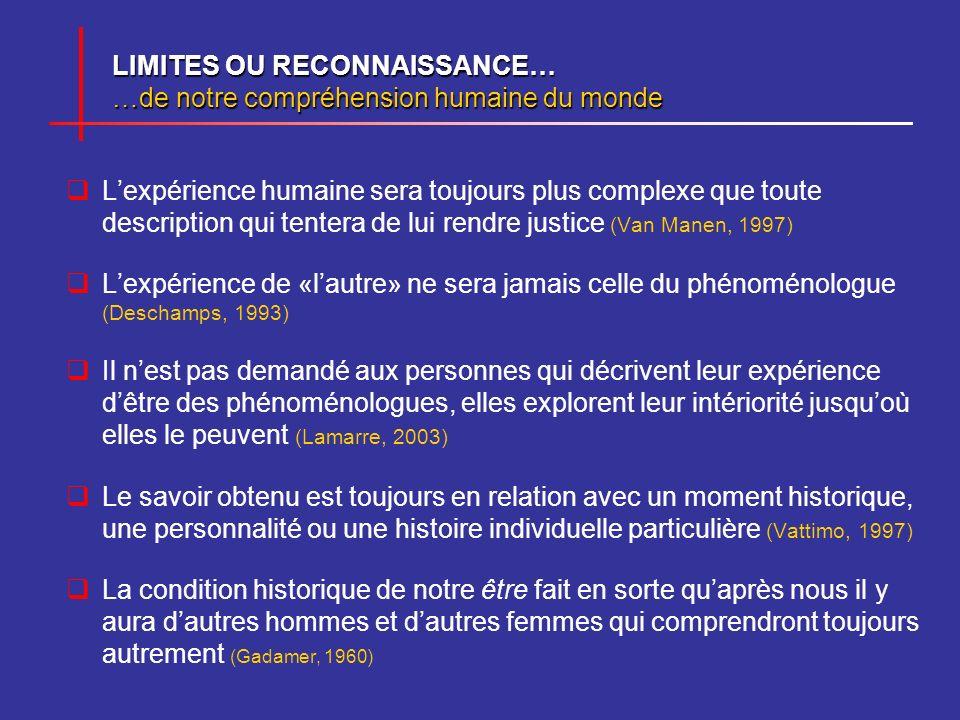 LIMITES OU RECONNAISSANCE… …de notre compréhension humaine du monde