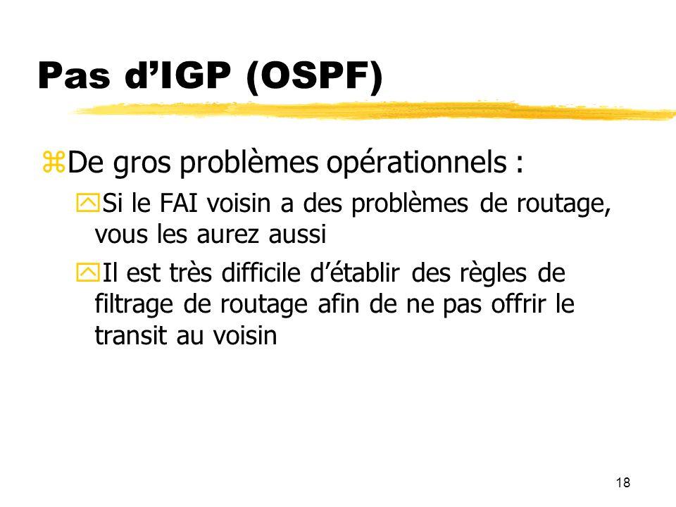 Pas d'IGP (OSPF) De gros problèmes opérationnels :