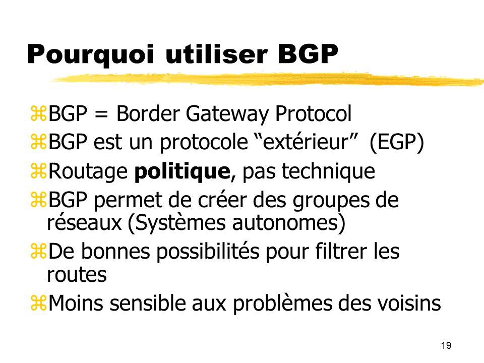Pourquoi utiliser BGP BGP = Border Gateway Protocol