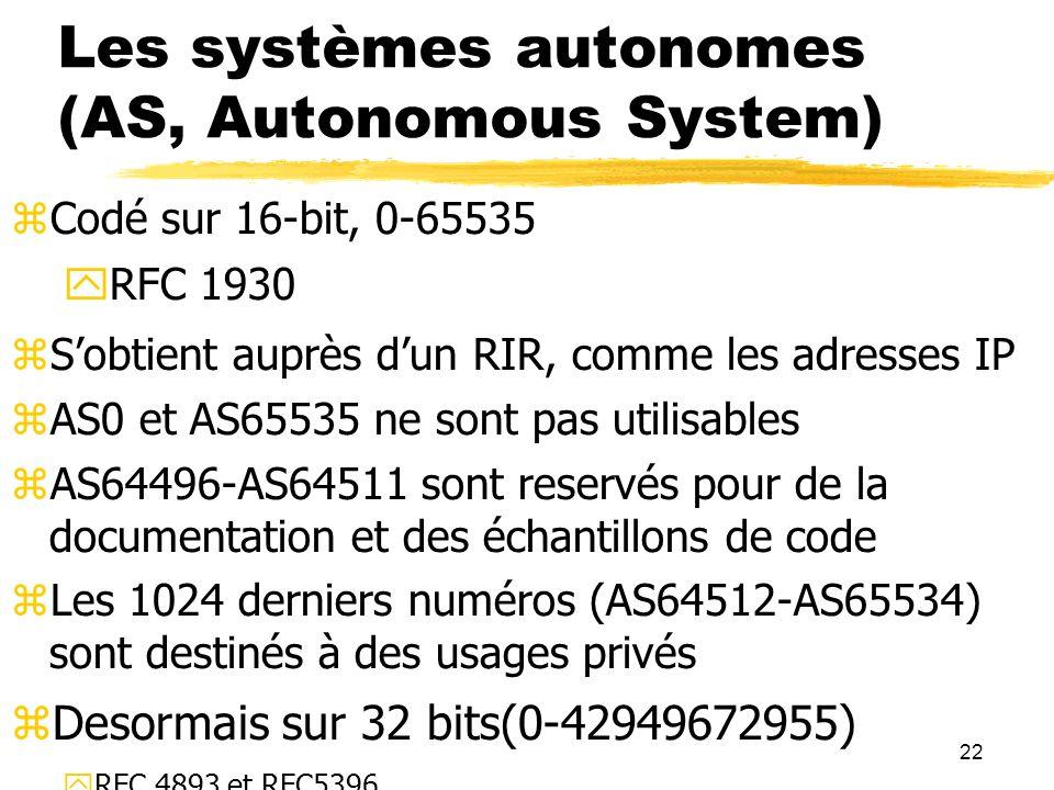 Les systèmes autonomes (AS, Autonomous System)
