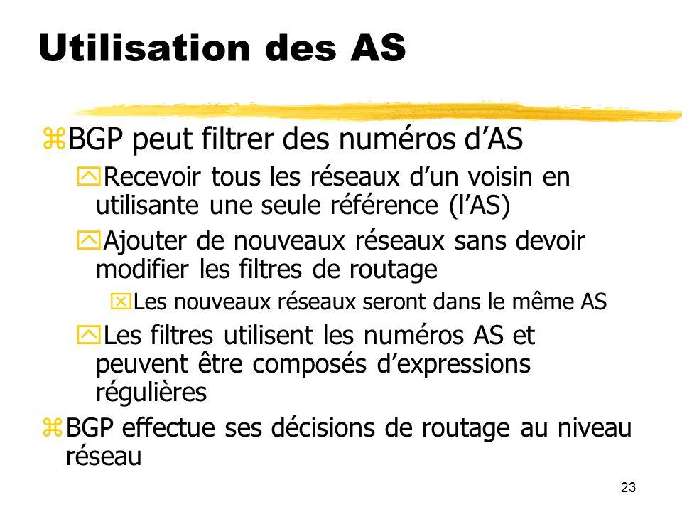 Utilisation des AS BGP peut filtrer des numéros d'AS