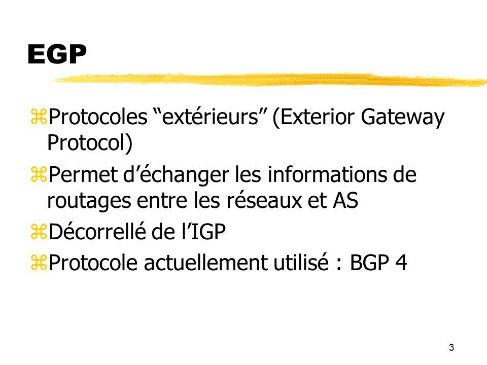 EGP Protocoles extérieurs (Exterior Gateway Protocol)