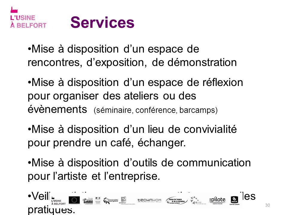 Services Mise à disposition d'un espace de rencontres, d'exposition, de démonstration.