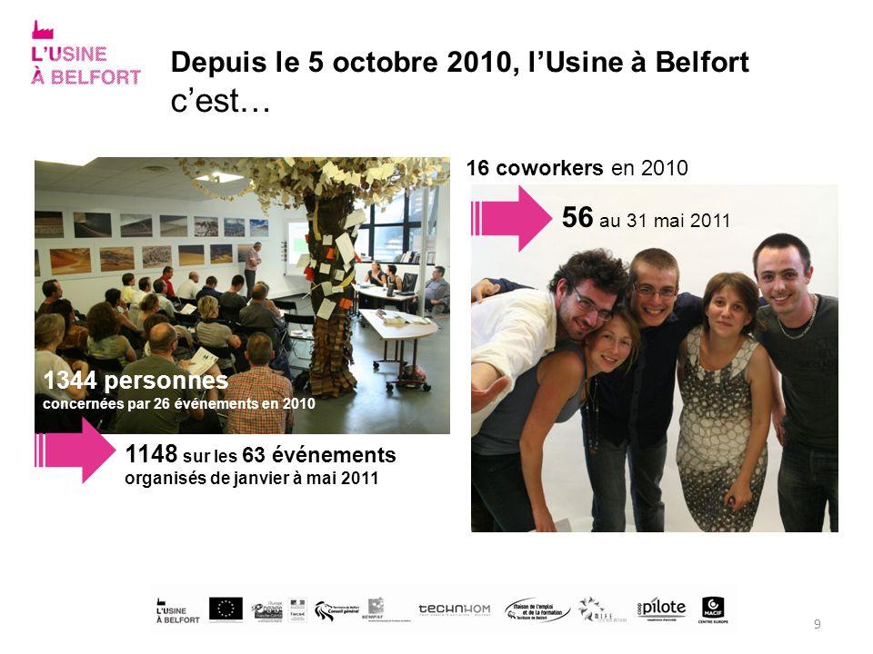 c'est… Depuis le 5 octobre 2010, l'Usine à Belfort 56 au 31 mai 2011