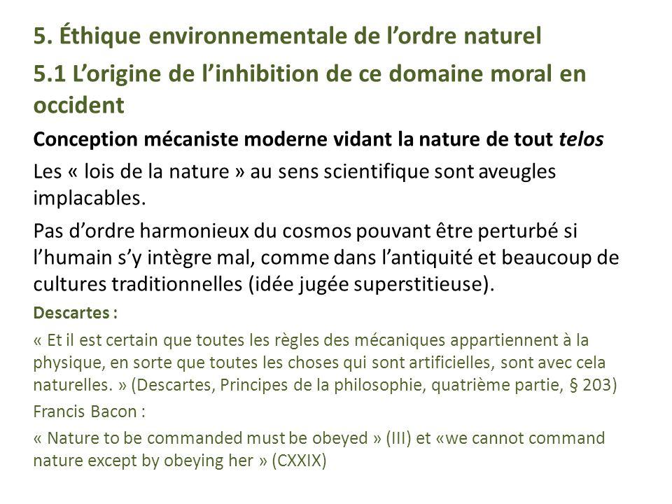 5. Éthique environnementale de l'ordre naturel