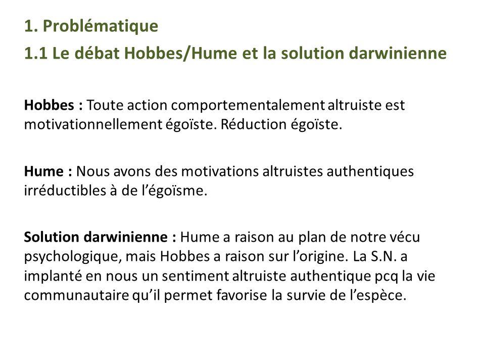 1.1 Le débat Hobbes/Hume et la solution darwinienne
