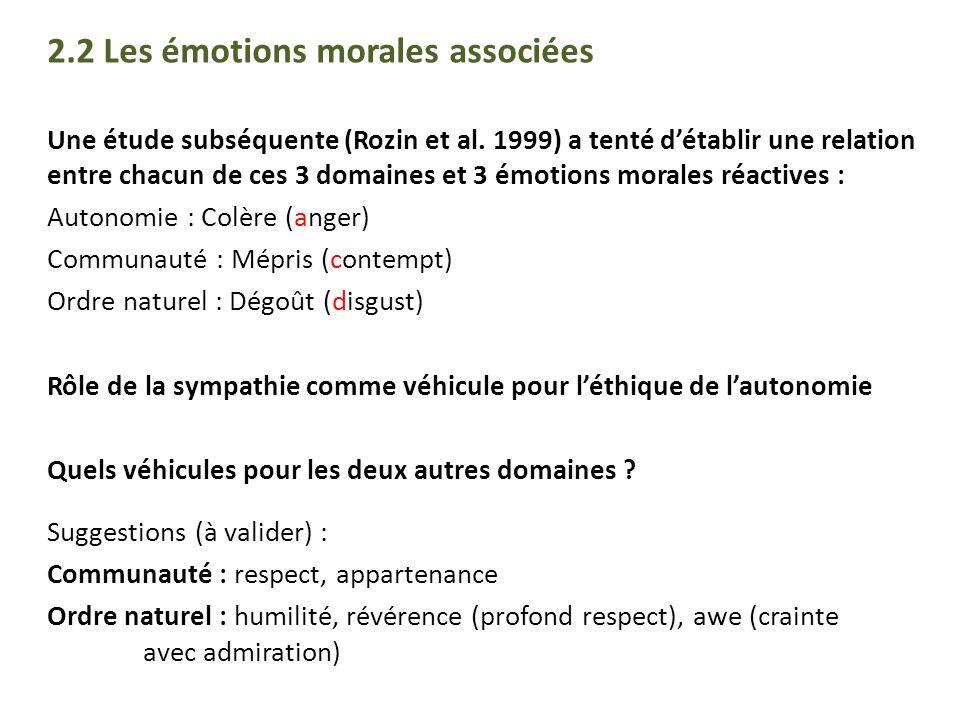 2.2 Les émotions morales associées