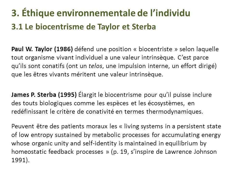 3. Éthique environnementale de l'individu