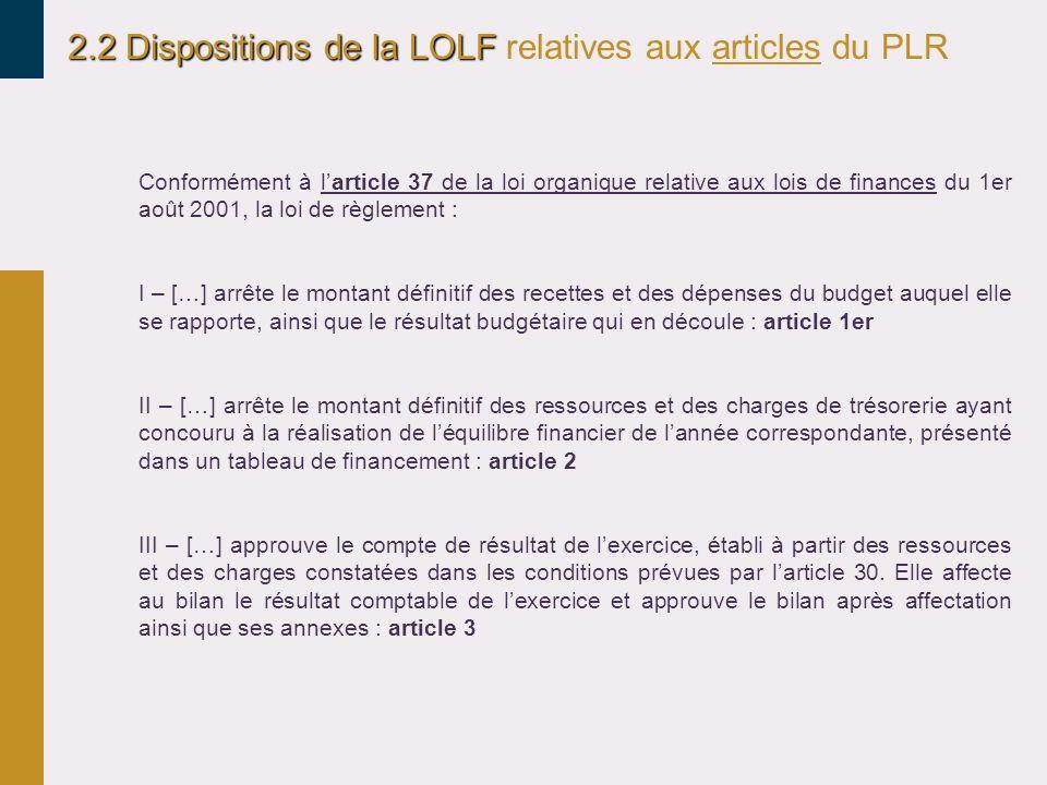 2.2 Dispositions de la LOLF relatives aux articles du PLR