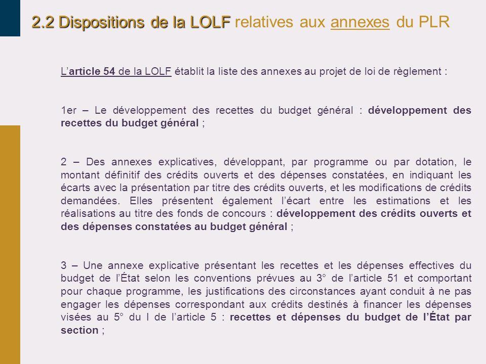 2.2 Dispositions de la LOLF relatives aux annexes du PLR