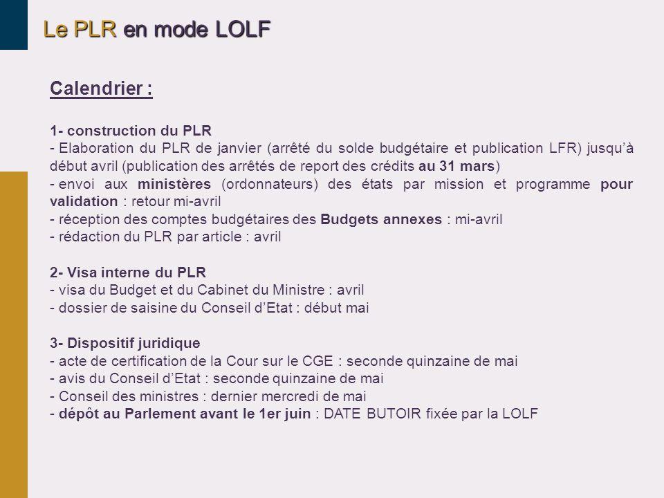 Le PLR en mode LOLF Calendrier : 1- construction du PLR