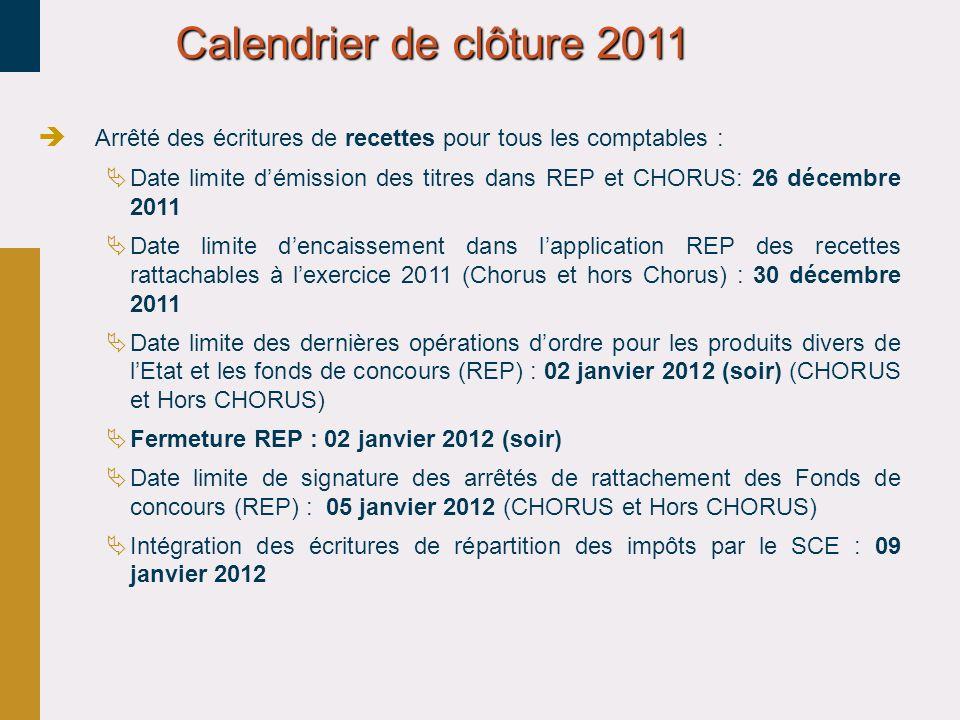 30/03/2017 Calendrier de clôture 2011. Arrêté des écritures de recettes pour tous les comptables :