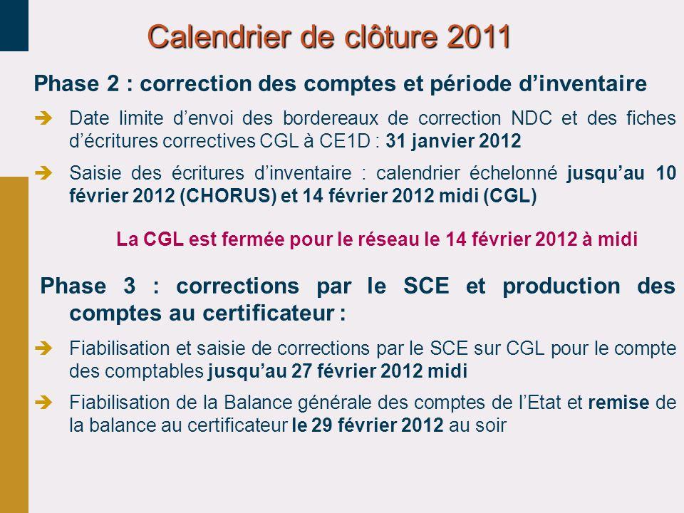 30/03/2017 Calendrier de clôture 2011. Phase 2 : correction des comptes et période d'inventaire.