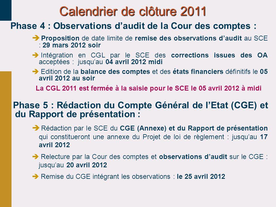 30/03/2017 Calendrier de clôture 2011. Phase 4 : Observations d'audit de la Cour des comptes :
