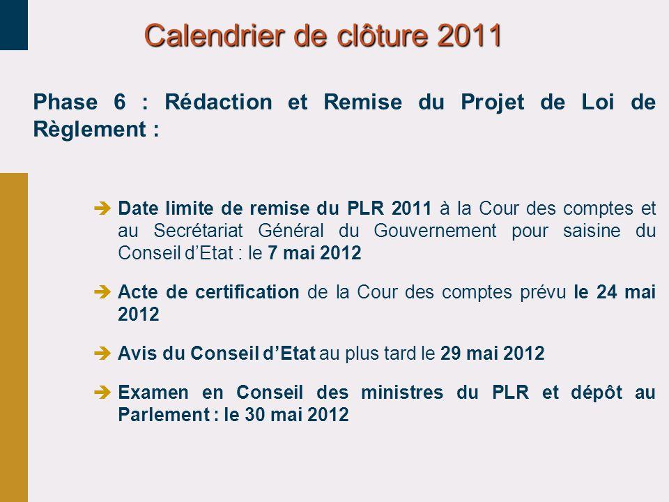 30/03/2017 Calendrier de clôture 2011. Phase 6 : Rédaction et Remise du Projet de Loi de Règlement :