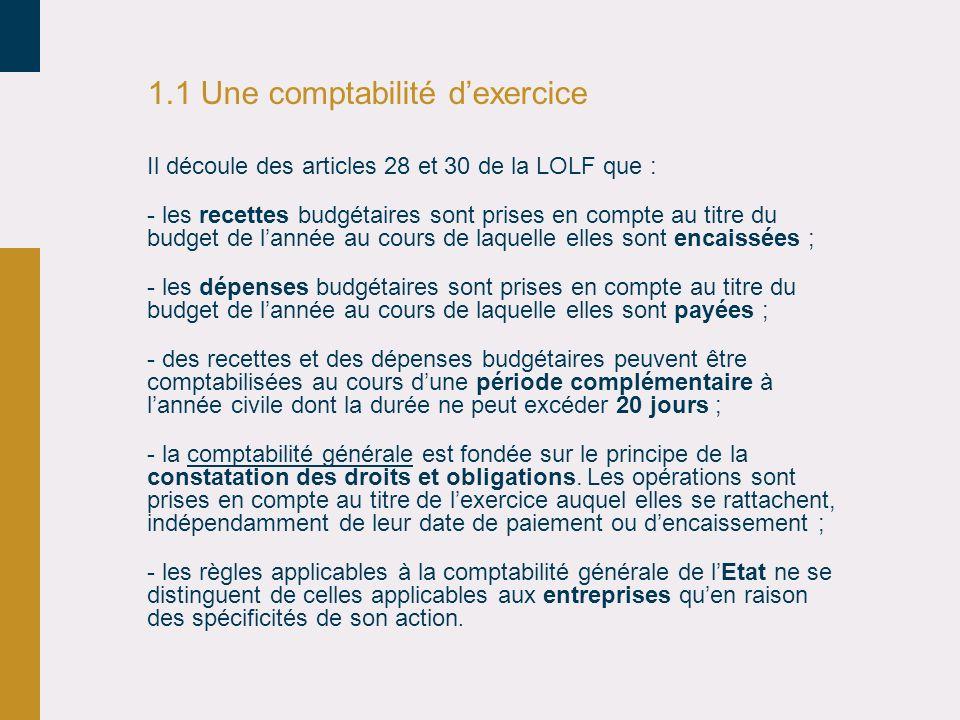 1.1 Une comptabilité d'exercice