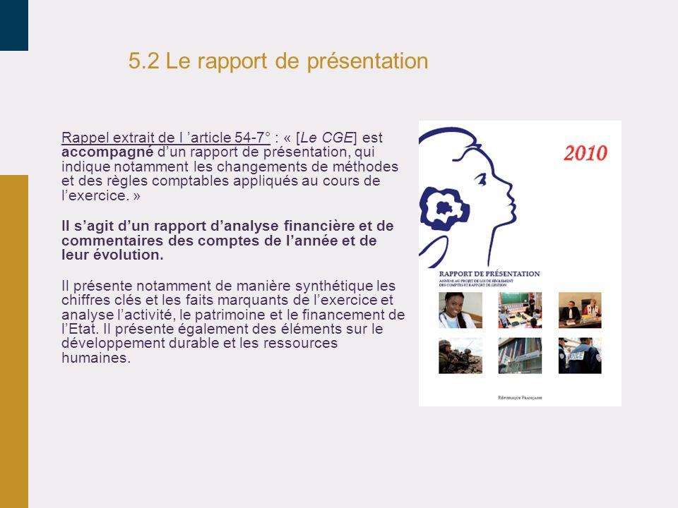 5.2 Le rapport de présentation
