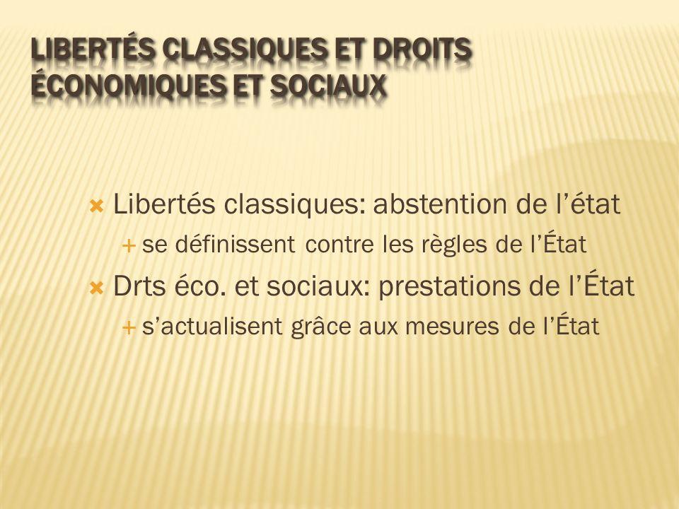 Libertés classiques et droits économiques et sociaux