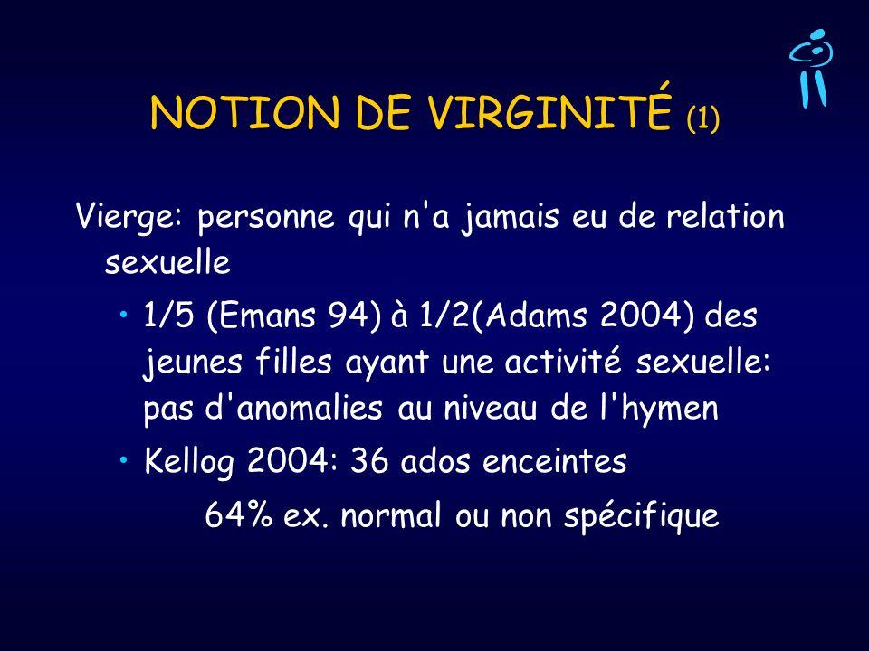 NOTION DE VIRGINITÉ (1) Vierge: personne qui n a jamais eu de relation sexuelle.