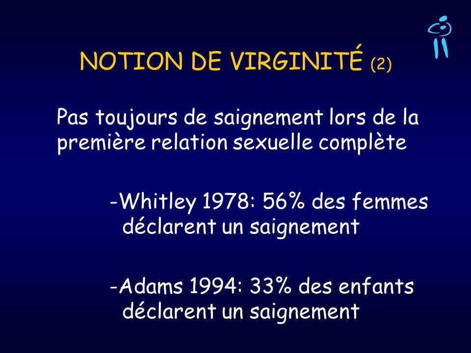 NOTION DE VIRGINITÉ (2) Pas toujours de saignement lors de la première relation sexuelle complète.