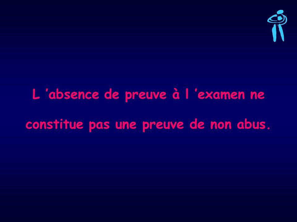 L 'absence de preuve à l 'examen ne constitue pas une preuve de non abus.