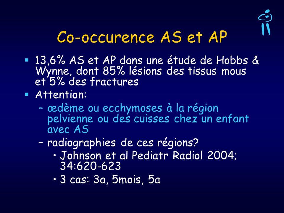 Co-occurence AS et AP 13,6% AS et AP dans une étude de Hobbs & Wynne, dont 85% lésions des tissus mous et 5% des fractures.