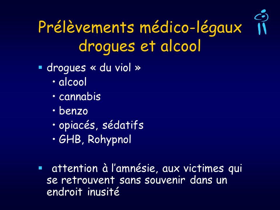 Prélèvements médico-légaux drogues et alcool