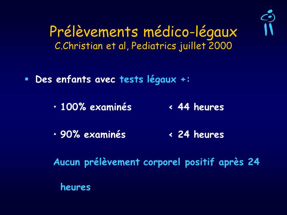 Prélèvements médico-légaux C.Christian et al, Pediatrics juillet 2000