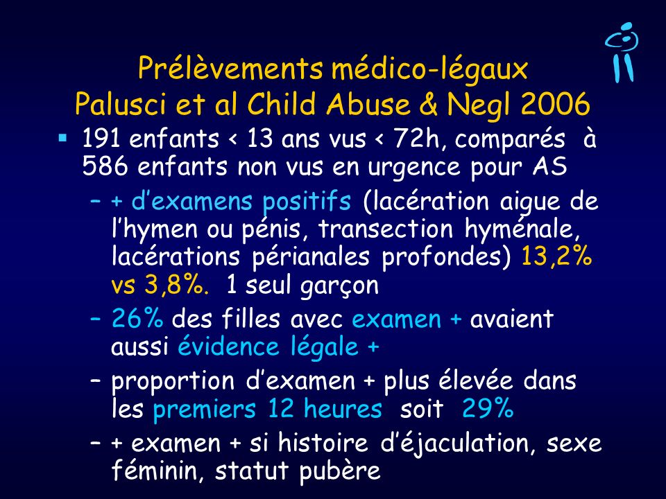 Prélèvements médico-légaux Palusci et al Child Abuse & Negl 2006