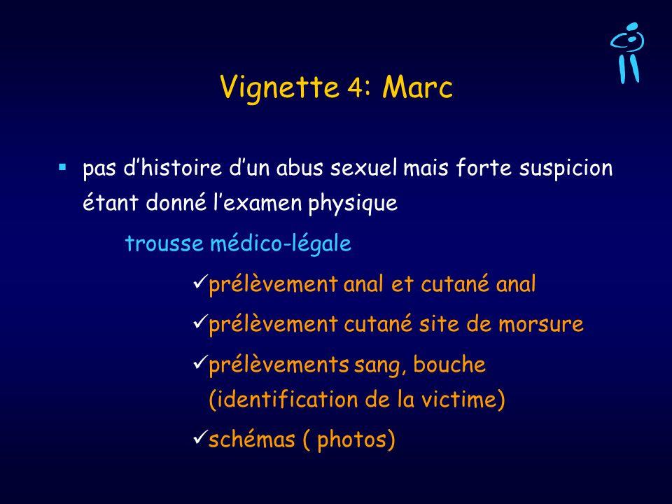 Vignette 4: Marcpas d'histoire d'un abus sexuel mais forte suspicion étant donné l'examen physique.