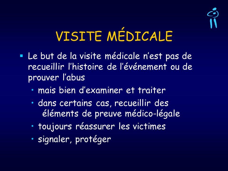 VISITE MÉDICALELe but de la visite médicale n'est pas de recueillir l'histoire de l'événement ou de prouver l'abus.
