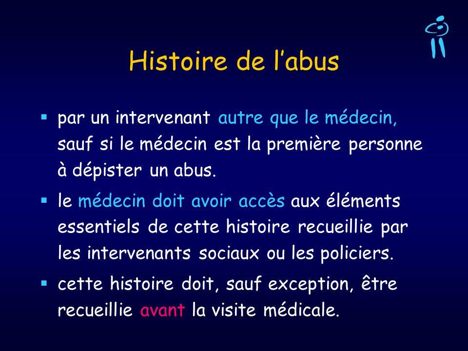 Histoire de l'abus par un intervenant autre que le médecin, sauf si le médecin est la première personne à dépister un abus.