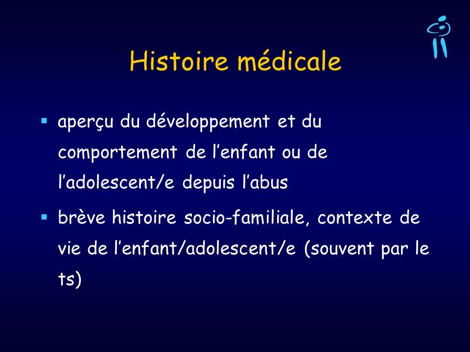 Histoire médicaleaperçu du développement et du comportement de l'enfant ou de l'adolescent/e depuis l'abus.