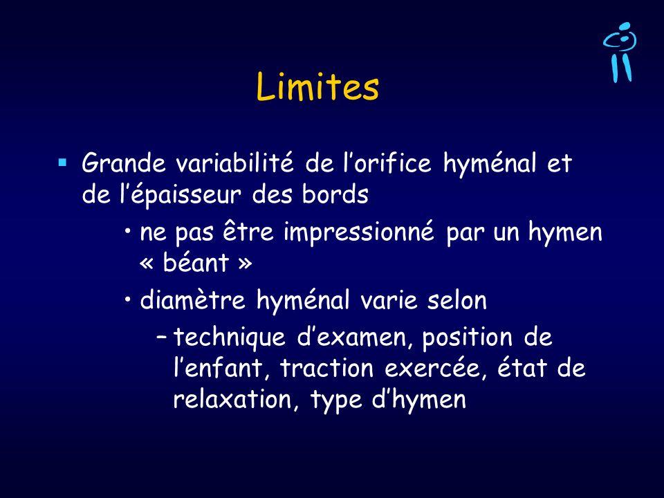 Limites Grande variabilité de l'orifice hyménal et de l'épaisseur des bords. ne pas être impressionné par un hymen « béant »
