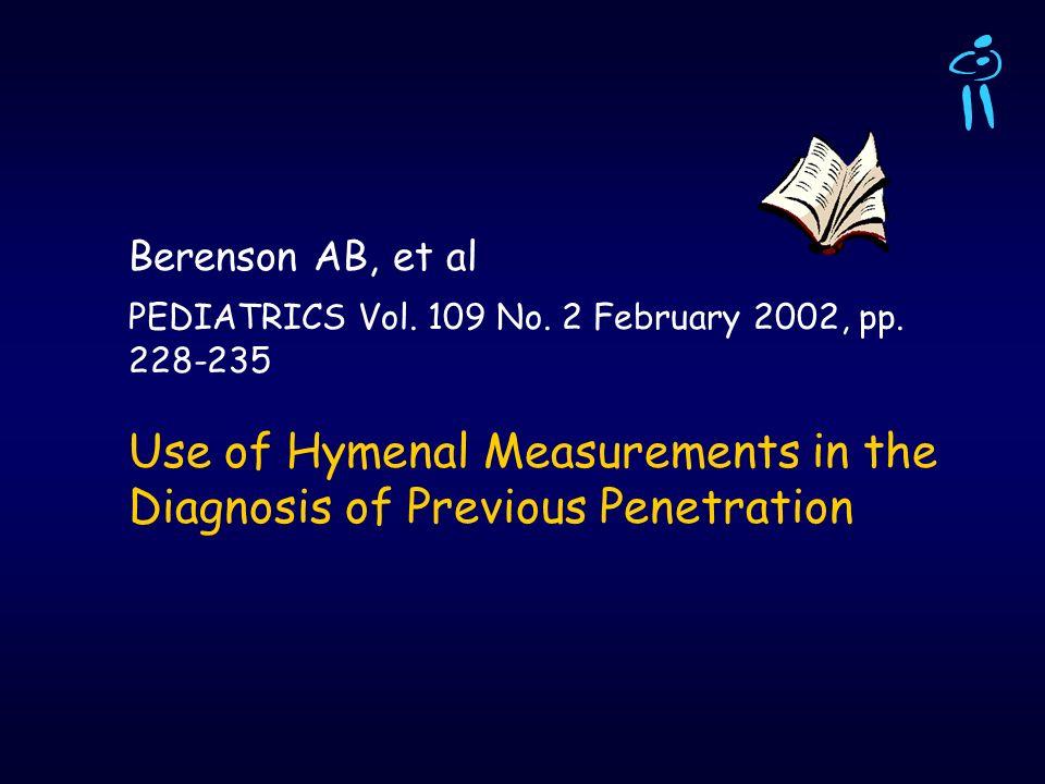 Berenson AB, et alPEDIATRICS Vol.109 No. 2 February 2002, pp.