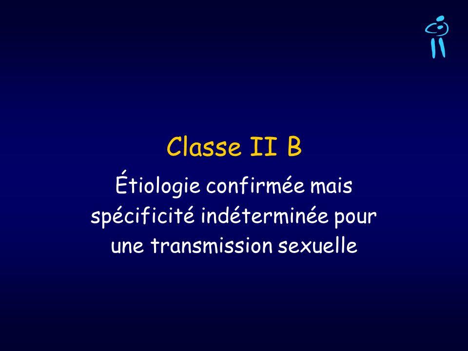 Classe II B Étiologie confirmée mais spécificité indéterminée pour une transmission sexuelle