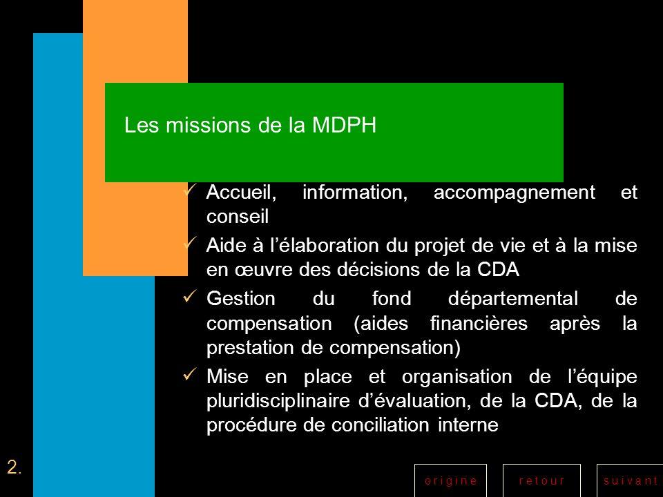 Les missions de la MDPH Accueil, information, accompagnement et conseil.