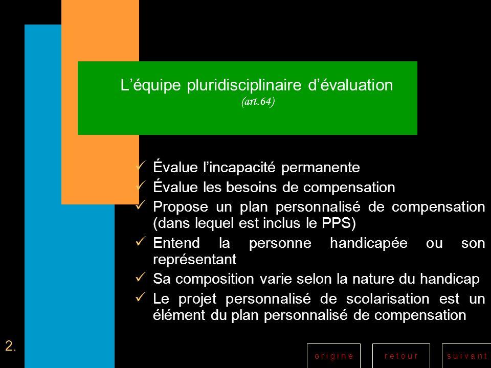 L'équipe pluridisciplinaire d'évaluation (art.64)