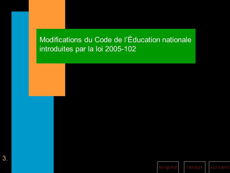 Modifications du Code de l'Éducation nationale introduites par la loi 2005-102