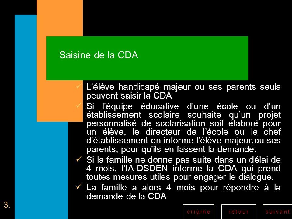Saisine de la CDA L'élève handicapé majeur ou ses parents seuls peuvent saisir la CDA.