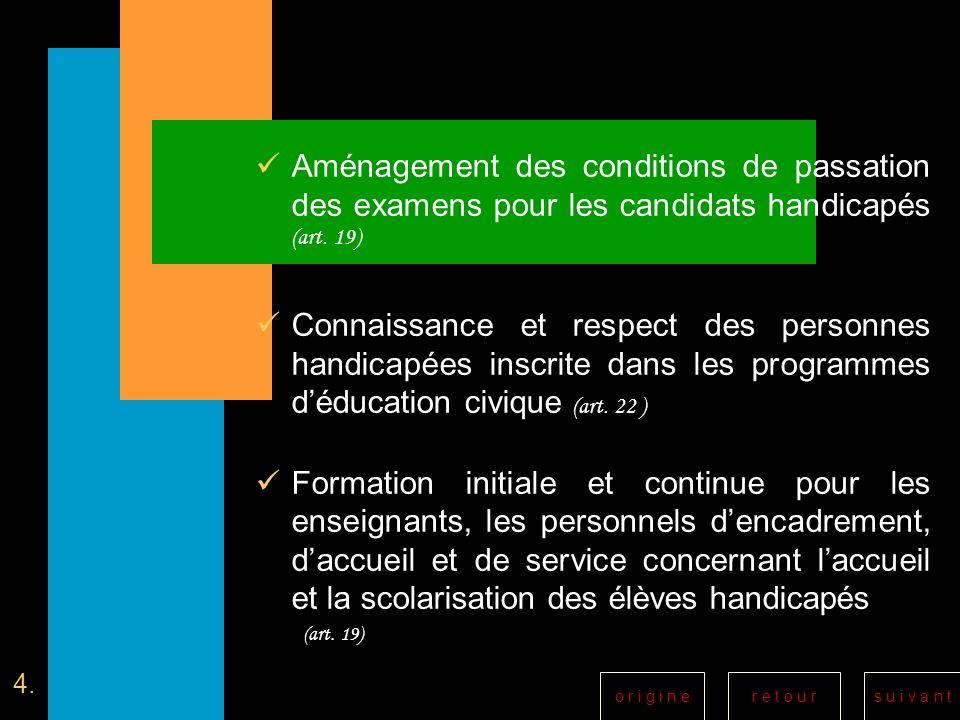 Aménagement des conditions de passation des examens pour les candidats handicapés (art. 19)
