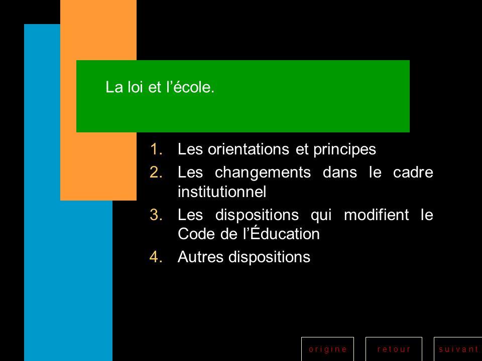La loi et l'école. Les orientations et principes. Les changements dans le cadre institutionnel.