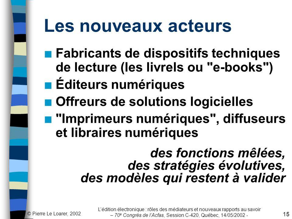 Les nouveaux acteurs Fabricants de dispositifs techniques de lecture (les livrels ou e-books ) Éditeurs numériques.