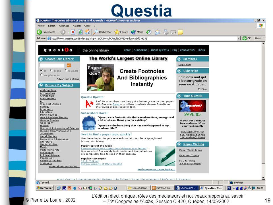 Questia L'édition électronique : rôles des médiateurs et nouveaux rapports au savoir – 70e Congrès de l'Acfas, Session C-420, Québec, 14/05/2002 -