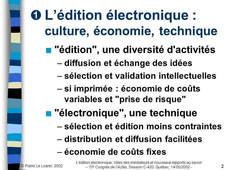 L'édition électronique : culture, économie, technique