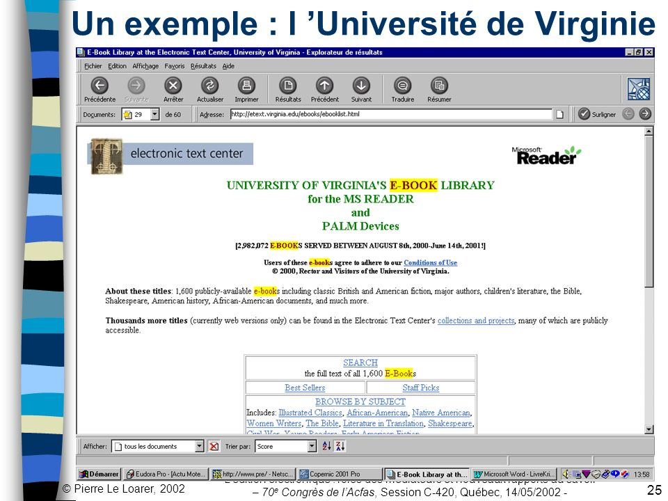 Un exemple : l 'Université de Virginie