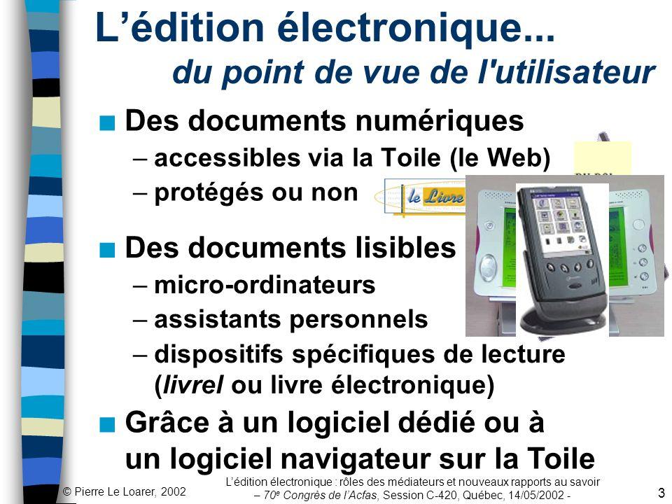 L'édition électronique... du point de vue de l utilisateur