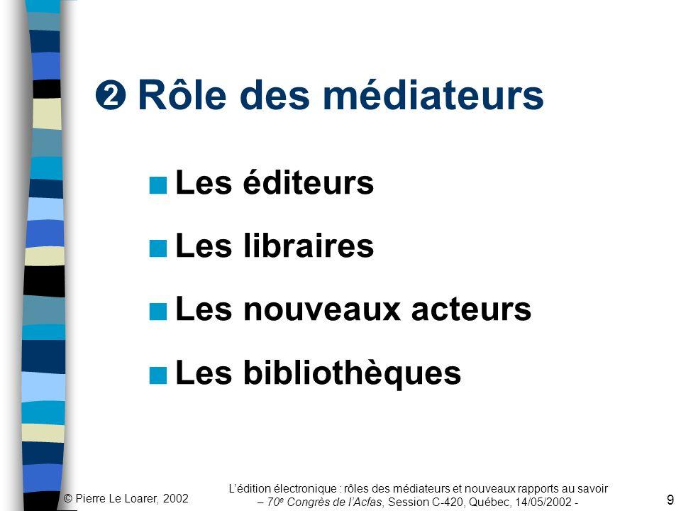 Rôle des médiateurs Les éditeurs Les libraires Les nouveaux acteurs