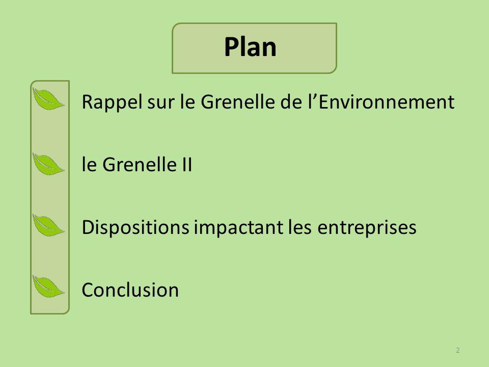 Plan Rappel sur le Grenelle de l'Environnement le Grenelle II Dispositions impactant les entreprises Conclusion